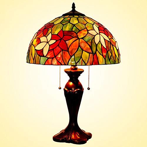 (European Style Table Lamp 16 Inch Retro Desk Lamp Glass Lamp Cafe Bar Lamps Tiffany Style Table Lamp Living Room Bedroom Zinc Alloy Base110v-220V E27x2 (Without Light Bulb),110V)