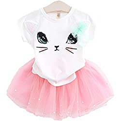 2Bunnies Girl Cat 3D Sequin Bow Tutu Pearl Skirt Sets (3T, White Top Pink Skirt)