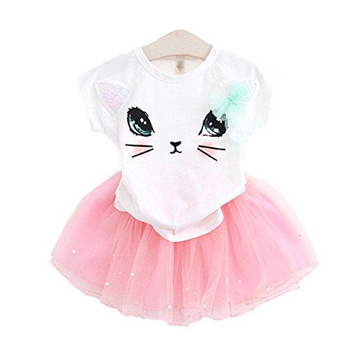 2Bunnies Girl Cat 3D Sequin Bow Tutu Pearl Skirt Sets (6, White Top Pink Skirt)