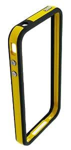 4-Ok BUTPAN - Funda bumper con botones TPE y protector para iPhone 4/4S, color negro y amarillo