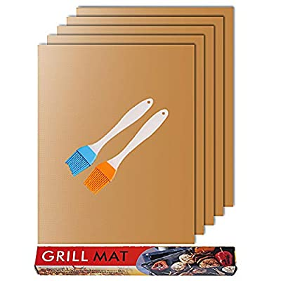 Grill Mat-Set of 6 Heavy Duty Non-Stick BBQ Grill Mat, Extended Warranty, 15.75 x 13 Inch Renook from Renook
