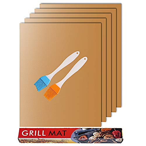 RENOOK Copper Grill Mat and Bake Mat Set of 5-Heavy Duty-100% Non-Stick BBQ...