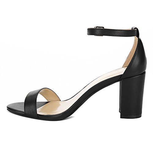 1963d3181c8ef Eunicer Women's Single Band Classic Chunky Block High Heel Sandals with  Ankle Strap Dress Shoes Black