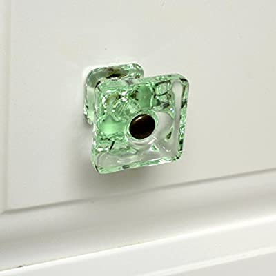 Bifold Closet Door Knobs, Kitchen Cabinet Pulls or Glass Drawer Handles T124M Green Glass Square Knobs with Oil Rubbed Bronze Hardware. Romantic Decor & More