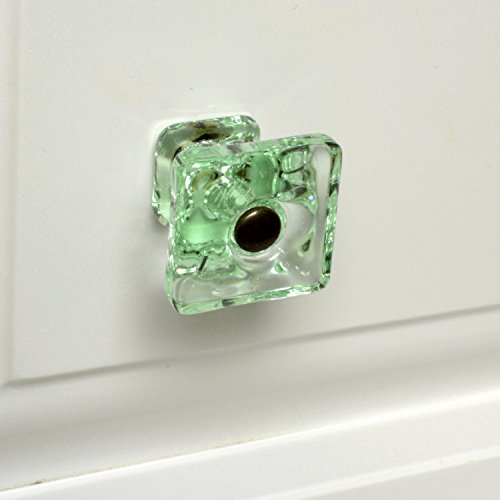 Modern Cabinet Handles Glass Dresser Pulls or Furniture Drawer Knobs 4 Pack T124VF Green Square Knob with Oil Rubbed Bronze Hardware. Romantic Decor & More ()