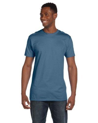 Hanes mens 4.5 oz. 100% Ringspun Cotton nano-T T-Shirt(4980)-Denim Blue-3XL-2PK ()