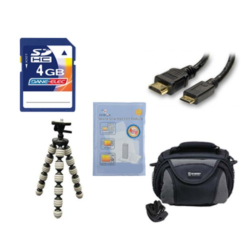 Canon Legria mini X Camcorder Accessory Kit includes: KSD4GB Memory Card, SDC-26 Case, HDMI6FM AV & HDMI Cable, ZELCKSG Care & Cleaning, GP-22 Tripod by Synergy Digital