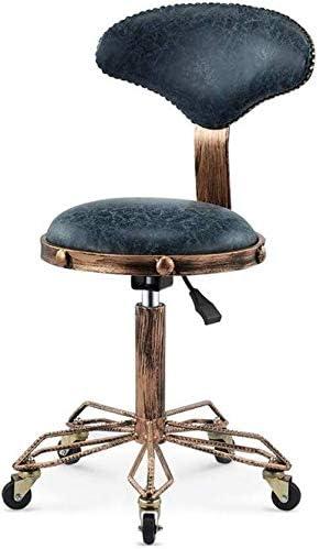 Salon sgabello Salone Ufficio Massage Chair con schienale regolabile Steampunk girevole ergonomica rotonda Sgabello for il lavoro di parrucchiere Manicure tatuaggio di terapia di massaggio di bellezza