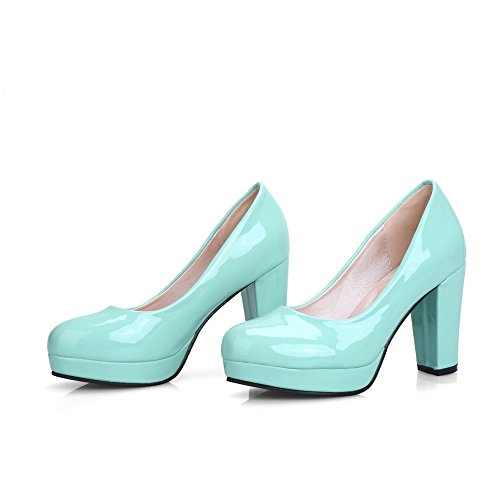 BalaMasa Womens Chunky Heels Platform Low-Cut Uppers Patent-Leather Pumps-Shoes Green Mgyyh2