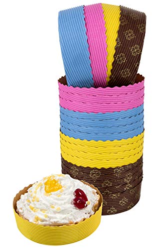 Mini Tart Pan, 25 Mini Pie Pans Brown for Small Tart Cake, 4x1 Size Disposable Baking Pans by PETANI (25, Multi) -