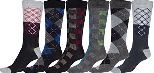 - Sakkas 70501G2 - Men's Crew High Patterned Colorful Design Dress Socks Asst Value 6-Pack - Checker and Argyle-1-10-13