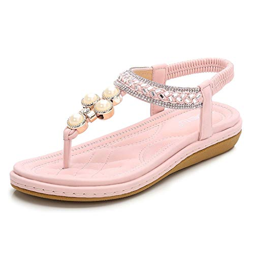 (Aunimeifly Women's Soft Comfortable Sandals Ladies T-Strap Crystal Clip Toe Woven Ankle Elastic Flat Roman Shoes)