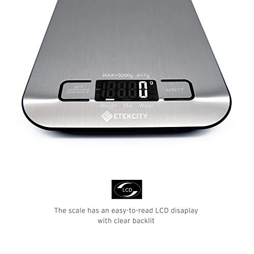 Etekcity Digital Kitchen Scale Multifunction Food Scale, 11lb 5kg, Silver, Stainless Steel (Batteries Included) by Etekcity (Image #3)