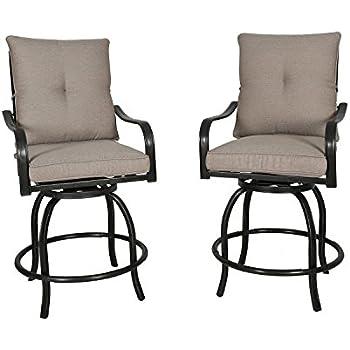 amazon com homefun outdoor swivel bar stools cast aluminum bistro