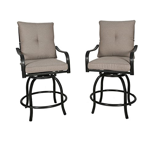 (Ulax furniture Outdoor 2-Piece Counter Height Swivel Bar Stools High Patio Dining Chair Set)