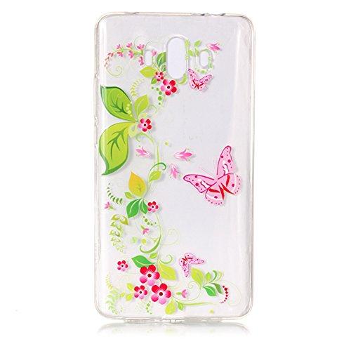 Funda Huawei Mate 10 2017, Sunroyal [Anti-Scratch] [Anti-Scratch] Silicona Gel TPU Logo Creativo Clear Crystal Clear Bumper Suave Protección Ultra Delgada y Cable USB 3.3ft Micro USB Carga Rápida Nylo Modelo 04