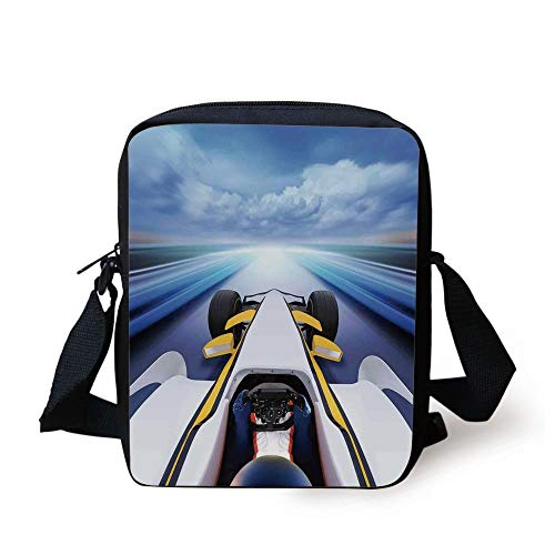 Cars,Overhead Route Perspective from Open Cockpit Racing Car Driving at High Speed Illustration,Multi Print Kids Crossbody Messenger Bag Purse