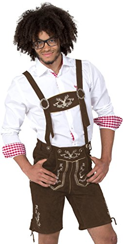 Almwerk Herren Trachten Lederhose kurz Modell Hipster, Farbe:Braun;Lederhose Größe Herren:54