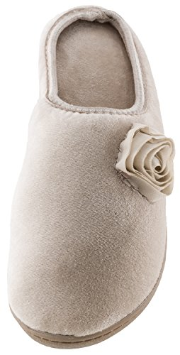 Isotoner Istotoner Womens Velour Rosalie Clog with Rose (Stone/Small 6.5-7) LmTWPm