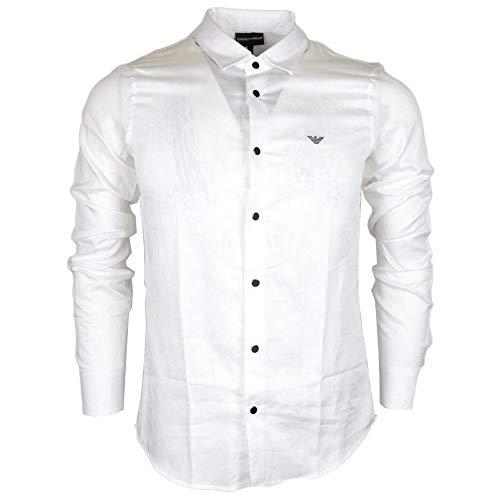 - Emporio Armani Cotton Stitched Logo Long Sleeve White Shirt M White