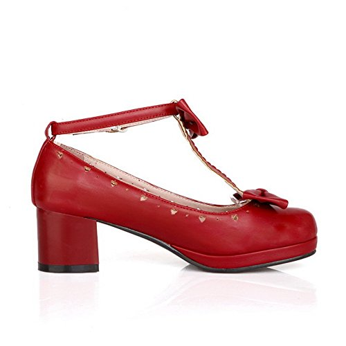 1TO9 donna fibbia spun Gold Bowknot round-toe gomma pumps-shoes, Rosso (Red), 35