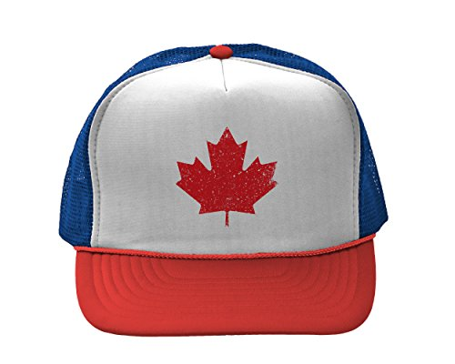 Team Canada Hockey Hats - Canadian Maple Leaf Two Tone Trucker Cap (Red/White/Blue)