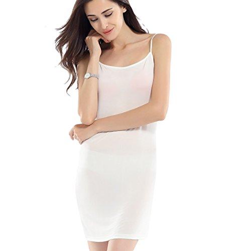 Baymate Mujer Enaguas Enteras Lencería Camisón Pijama Conjunto Con Camiseta de Tirantes Blanco
