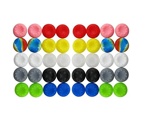 (BeautyMood 40pcs Colorful Silicone Accessories Replacement Parts Thumb Grip Cap Cover For PS2, PS3, PS4, XBox 360, XBox One)