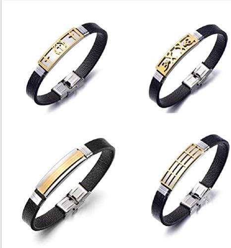 Anhänger Schmuck Armband Edelstahl Herren Titan Stahl Leder Armband Armband