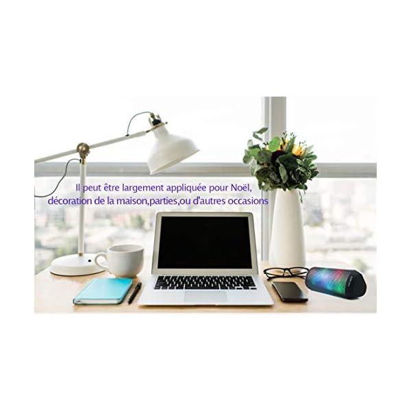 Enceinte Bluetooth Portable Lumineuse Haut-Parleur Bluetooth sans Fil avec LED Lumière Radio, Technologie TWS,2000mAh Autonomie 8-10H,Idéal la Maison, Camping,l'extérieur Les Voyages 6