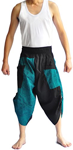 Siam Trendy Men's Japanese Style Pants One Size Black and Green Japanese by Siam Trendy