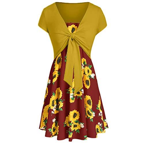 Alimao Women's Short Sleeve Bow Knot Bandage Top Sunflower Print Mini Dress Suits T-Shirt