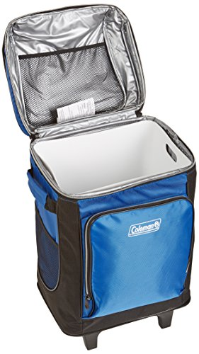 Coleman 42-Can Soft Cooler with Removable Liner & Wheels 2 Holds 42 cans Durable wheels and retractable handle make it easy to transport Includes removable hard plastic liner