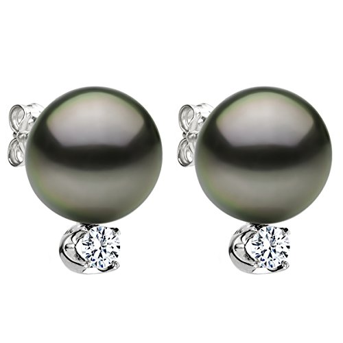 14K-White-Gold-and-Diamond-Stud-Earrings-with-Round-Black-Tahitian-Cultured-Pearl