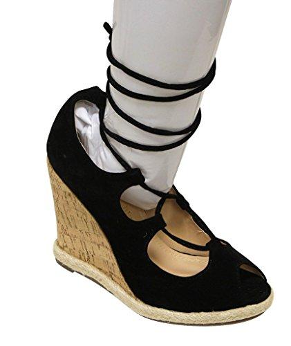 Chase & Chloe Tammy-2 Para Mujer Peep Toe Cuña De Corcho Gilly Tie Wrap Sandalias De Gamuza Negro