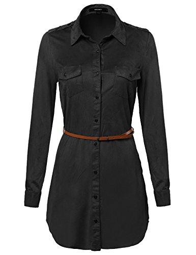 [Super Soft Faux Suede Shirts Dress with Belt Black S Size] (Suede Cap Black Belt)