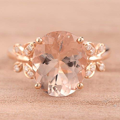Pink Oval Cut Natural Morganite Engagement Ring Rose Gold Diamond Ring Butterfly Shape Ring Unique Design (Butterfly Vs2 Ring)