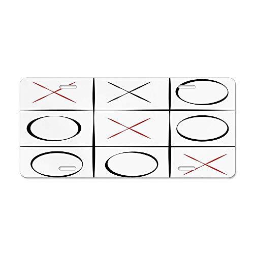 (Wonderhorsegala Xo Tic Tac Toe Simplistic Pattern Aluminum Metal License Plate for US Cars, Auto Tag for Women/Men, 12 x 6 Inch)