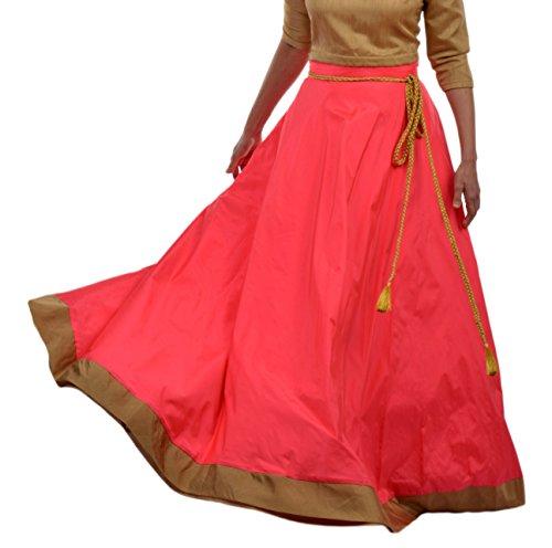 DeeVineeTi Women's Taffeta Silk Maxi Wrap-Around Long Skirt for Women Ethnic Indian Lehenga Style Skirt Free Size (Pink)