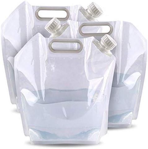 Bramble 3 Transparante Opvouwbare Plastic Watercontainerzakken 5 LitersBPA vri Waterreservoir voor Wandelen Camping