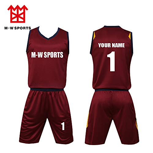 Custom Basketball Jerseys Set with Pocket Screen Print Your Name Number Basketball Sport t-Shirt (L, Wine Red)