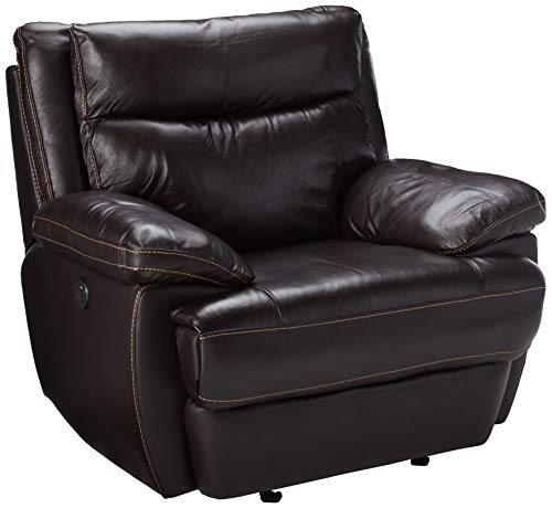 Coaster MacPherson Casual Brown Power Recliner with Built-In USB Charging Port (Sale Full Grain Sofa Leather)