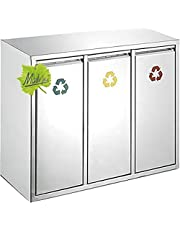 Made for us® 45 L roestvrij staal wandafvalemmer 3x15 L vuilnisemmer 3 vakken voor keuken, 3-weg afvalscheiding m. 3 binnenemmers, 3-delig afvalscheidingssysteem 45 liter afvalverzamelaar vuilnisemmer kast