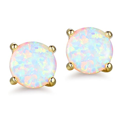 Round Opal Stud Earring with 18k Gold Plated Womens Eternity Earings Jewelry (8mm)
