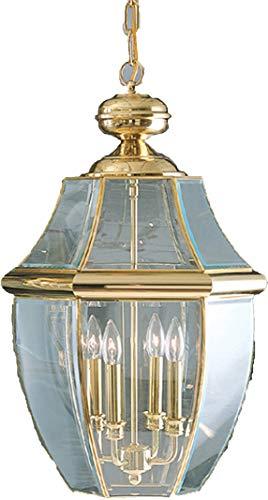 (Quoizel NY1240B Newbury Outdoor Pendant Lantern Ceiling Lighting, 4-Light, 240 Watts, Polished Brass (27