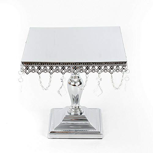 (Cake Stand, Square Cake Stand Dessert Wedding Party Display Pedestal Plate with Crystal Dangles - Silver (US Shipping))
