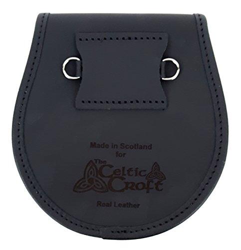 Studded Targe Bovine Premium Fur Sporran-Made in Scotland (Celtic Embossed Sporran Suspender) (Studded Suspenders)