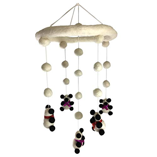 - Wool Panda Nursery Mobile for Baby's Room Crib Decoration (Pandas with Purple and Red Ribbons)