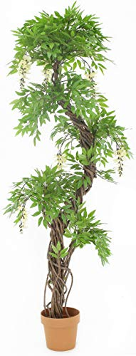 Quality Artificial Cream Flowering Japanese Fruticosa Tree, Replica Indoor Outdoor Office Topiary Tree Plant -165cm Tall
