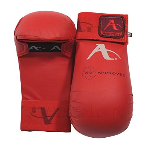 Wkf Karate Mitt - Arawaza WKF Approved Karate Mitts (Red, Medium)